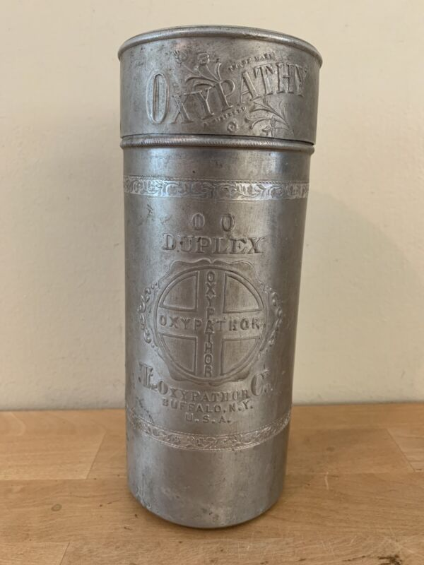 RARE Antique 1912 Oxypathor Quack Medicine Device Embossed Aluminum Container