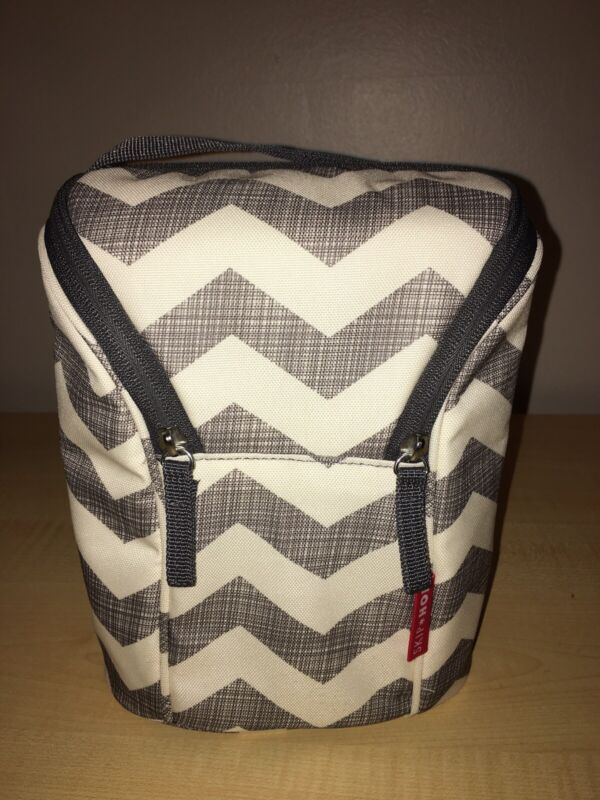 Skip Hop Insulated Bottle Bag/Carrier With Gray Handle - Chevron Print