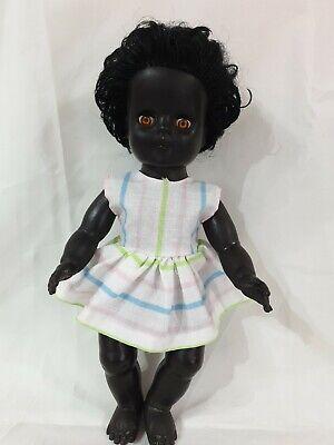 "1950s  Made in England 12"" Hard Plastic & Vinyl black Doll"