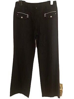 John By John Richmond Ladies Black Linen Cargo Style Trousers Size 14