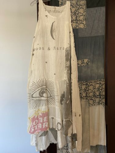 Amazing Magnolia Pearl Linen Bohemian Dress One Size Moon & Stars Bob Dylan