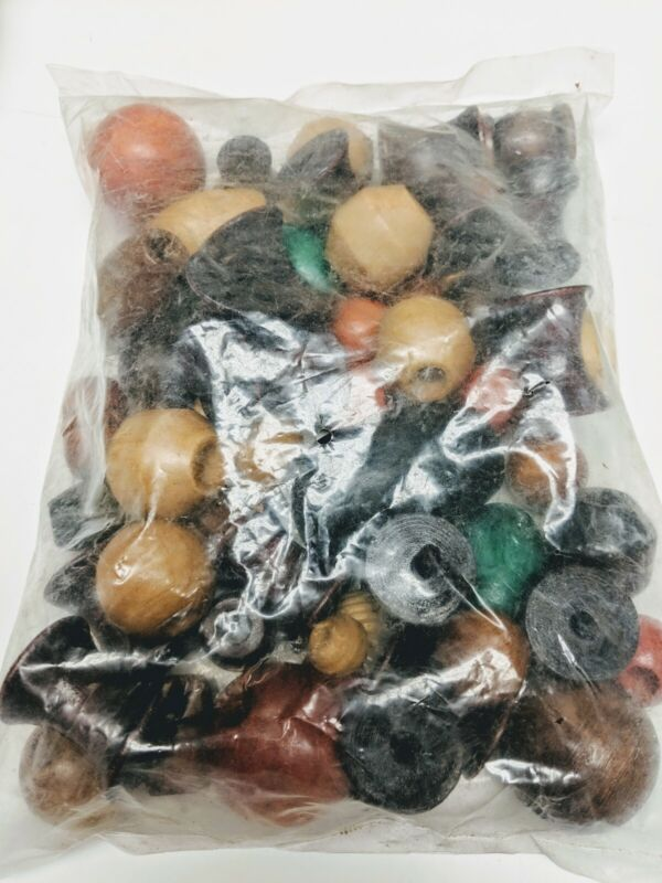 Lot of 65 Vintage Wood Macrame Hanger Beads - Round, Barrel, Oblong & more New