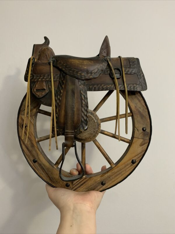 Western Home Decor Saddle and Wagon Wheel Wall Hanging Western Decor 11""