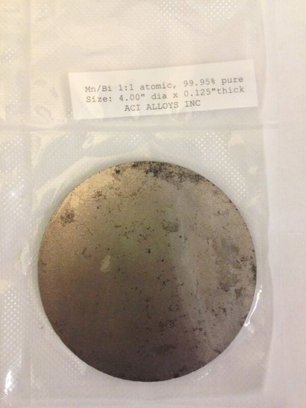 Manganese Bismuth Sputter Target, 4in x 1/4in, by ACI Alloys