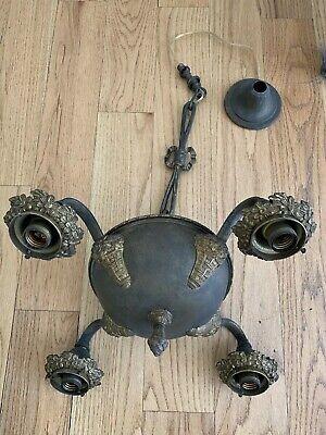 Antique ORIGINAL VICTORIAN PAN FIXTURE 4 LIGHT Ornate Bronze Brass Flower Tassel Bronze Ornate Flowers