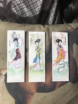 Vintage Chinese Table Screen Panels Handpainted On Soap Stone