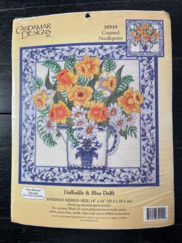 "Candamar Designs ""Daffodils & Blue Delft"" 30949 Counted Needlepoint Kit NIB Rare"