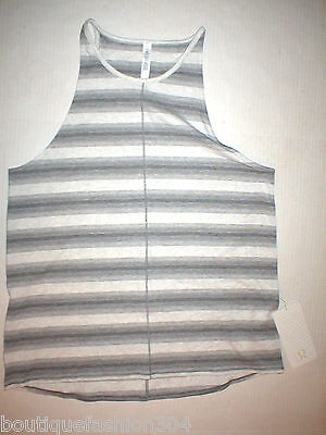 Womens Lululemon Tank Top Hot Yoga 12 Pilates NWT New Gray White Stripes Workout