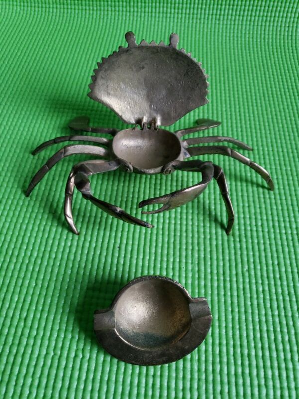 Brass Crab MARYLAND BLUE Crab ASHTRAY DETAILED HINGED SHELL REMOVABLE TRAY