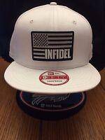 966e5cb4881a6 New Era NE400 White Flat Brim Snapback Hat Cap W  INFIDEL blk wht