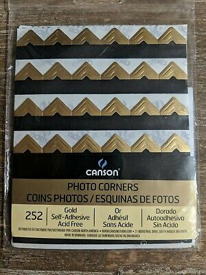 Gold Photo Corners. Package of 252. Self-Adhesive, Acid Free. Free -