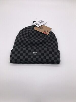 Vans Mens Black Grey MTE Cuff Logo Beanie One Size Fold Hat Brand New Genuine