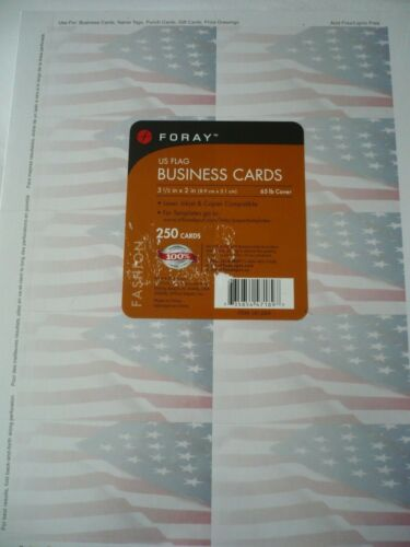 """BRAND NEW SEALED US FLAG FORAY 250 BUSINESS CARDS 3.5"""" x 2"""""""