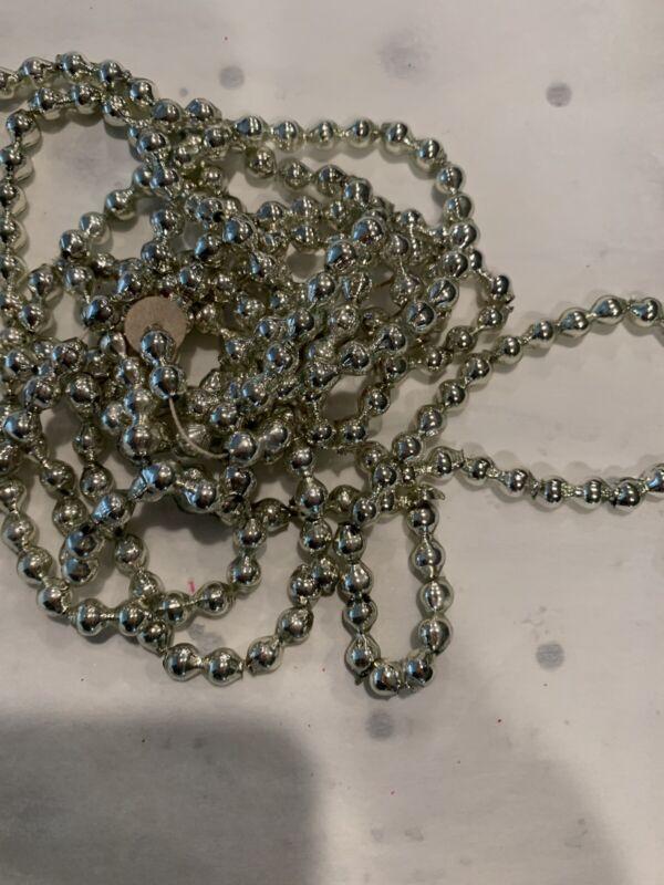 "Vintage Christmas Glass Silver Bead Garland 100"" #EE"