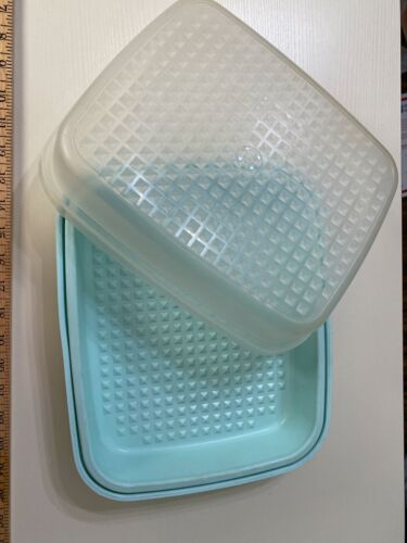 TUPPERWARE Large SEASON SERVE Meat Marinade Container Mint Green #1295 & #1294