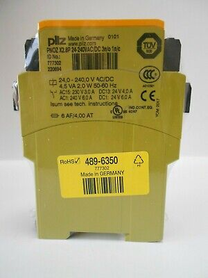 Pilz Pnoz X2.8p 777302 Safety Relay 24-240 Acdc 3n0 1nc.