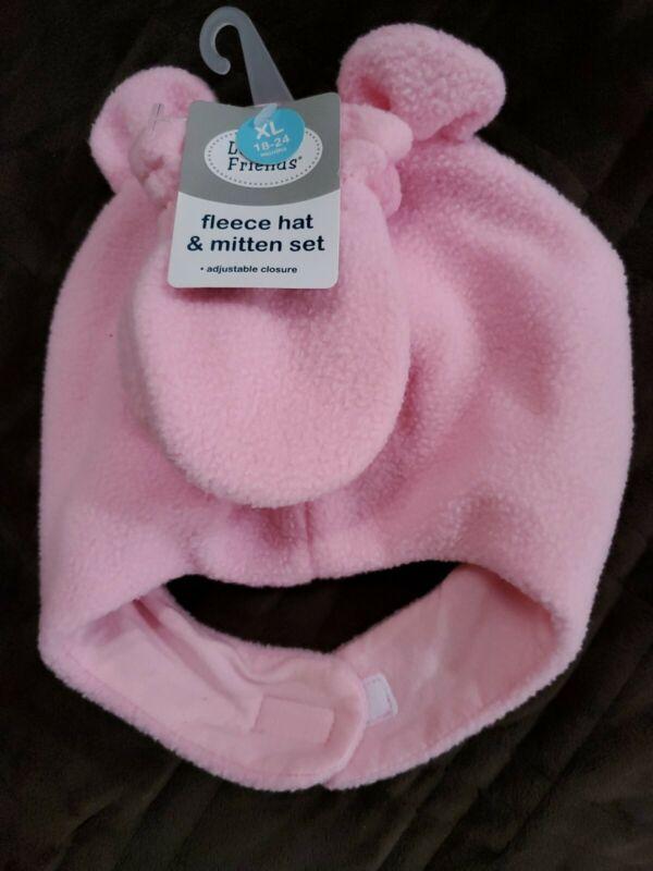 Baby Girl Hat & Mitten Set  by Lovable Friends size XL 18 -24 Months  N W T