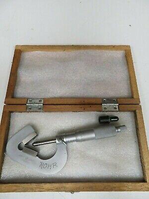 Mitutoyo - Mdl 114-202 - 0.093-1.0001 V-anvil Micrometer W Case - Od8