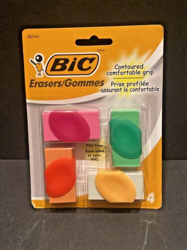 BIC Contoured Comfortable Grip Erasers, 4/Pk (NEW in Package)- Free shipping!