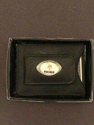 NIB Minnesota Vikings Magnetic Black Leather Card Holder Money Clip Minnesota Vikings Clip Holder
