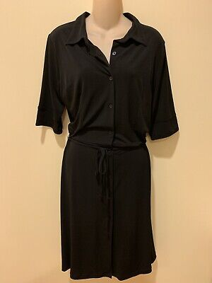 H&M New Womans Button Front Belted Stretch Black Dress Sz 12