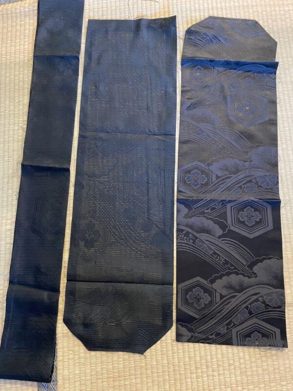 Japanese Vintage Kimono FABRIC / Synthetic / Black / Plain  #682