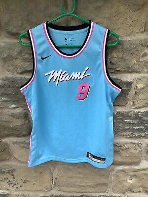 Brand New Nike NBA Miami Heat Jersey Blue Large Age 14/16 Valentin 9