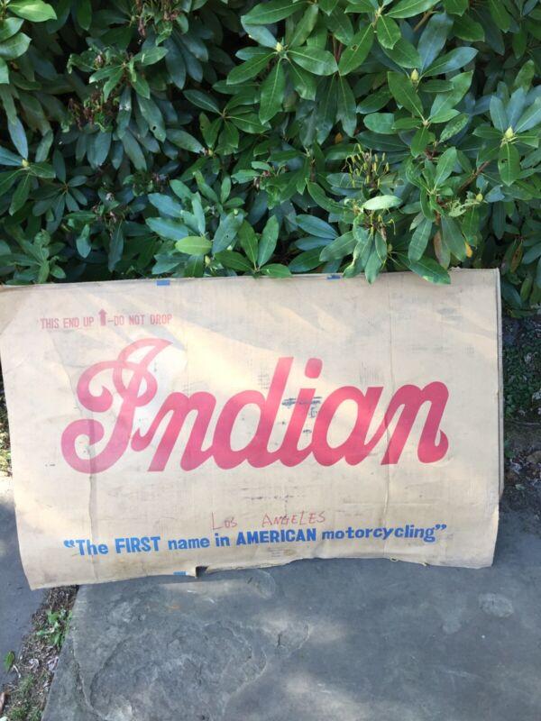 Vintage INDIAN Motorcycle Huge Large Retro Sign Box Carton Side Los Angeles