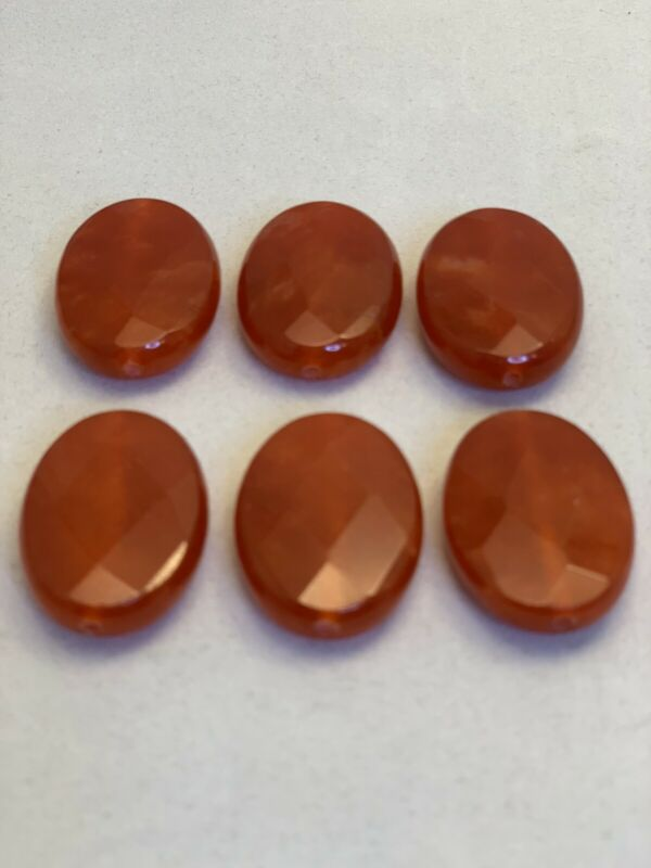 Lot Of 6 Oval Faceted Red Jade Beads (2066)