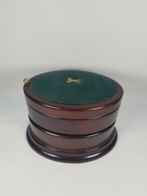 Vtg 1996 Bombay Co 3 Tier Wood Oval Swivel Sewing/Jewelry Box Pin Cushion Top