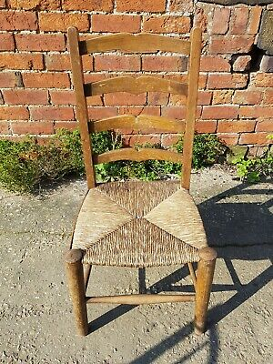 ANTIQUE CHILDRENS LADDER BACK SOLID WOOD RUSH CHAIR