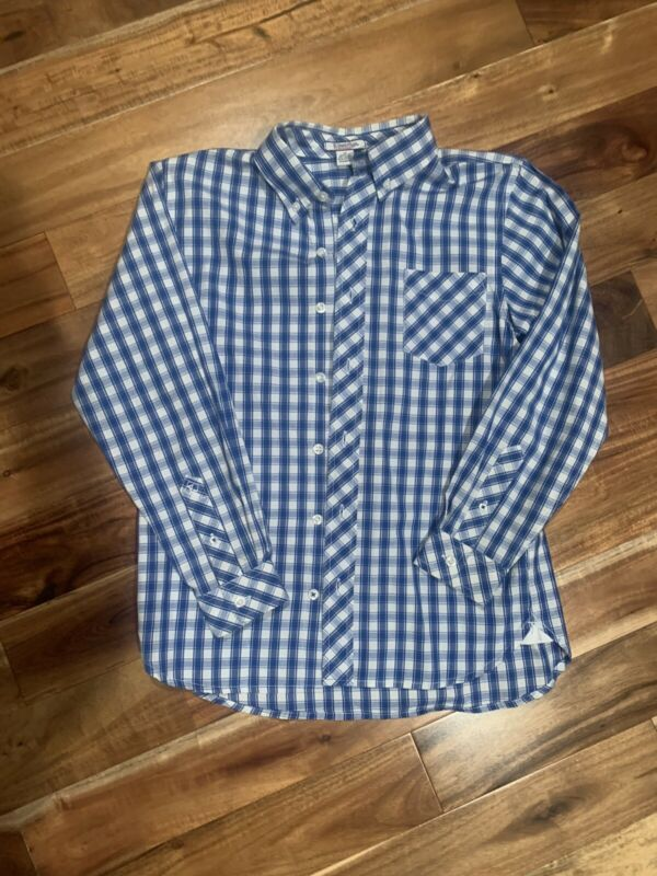 Hartstrings Blue Checked Boys Size 10 Long Sleeve Button Down Shirt Holiday VGUC