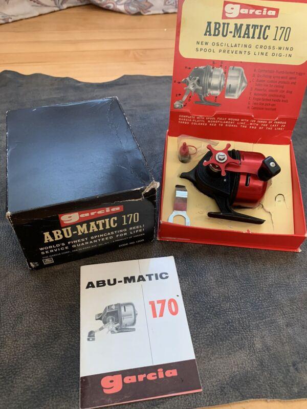 Vintage Garcia Abu-Matic 170 Fishing Reel w/ Original Box & Manual - Sweden