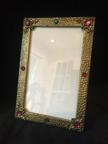 Antique Hammered Bronze Jeweled Picture Frame