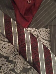 Burgundy and Grey Suit