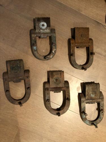 Vintage Pair Of 5 Horseshoe Barn Door Rollers Original