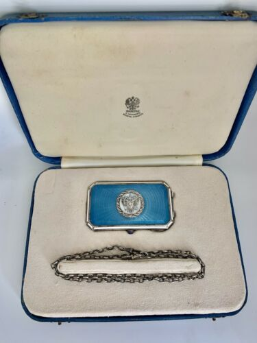 Antique Russian Faberge Silver Blue Guilloche Enamel Note Card Box With A Chain