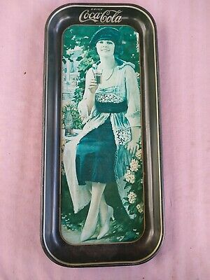 Vintage 1973 Coca Cola Rectangular Tin Serving Tray with Woman in Blue Dress