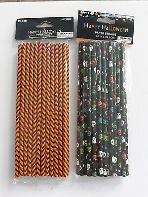 Halloween Paper Straws (Halloween party themed  Orange & Black paper straws 2 pack 24,25, bats ghosts)