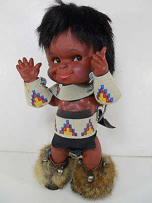 VINTAGE REGAL CANADA INDIAN ESKIMO INUIT DOLL BABY TRADITIONAL COSTUME CLOTHES.