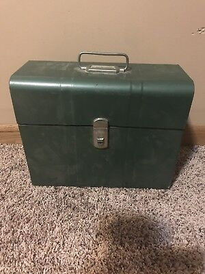 Mid Century Metal Storage File Box Vintage Scrapbooking Crafting Steel Cabinet