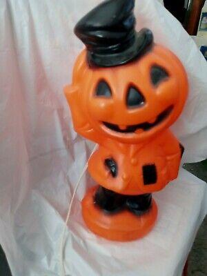 Vintage Halloween Plastic Lighted Pumpkin Empire 1969 Blow Mold Scarecrow Hobo