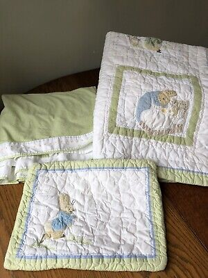 Used, EUC Pottery Barn Peter Rabbit Crib QUILT set: Quilt, Pillow Sham And Crib Skirt for sale  Bay Village