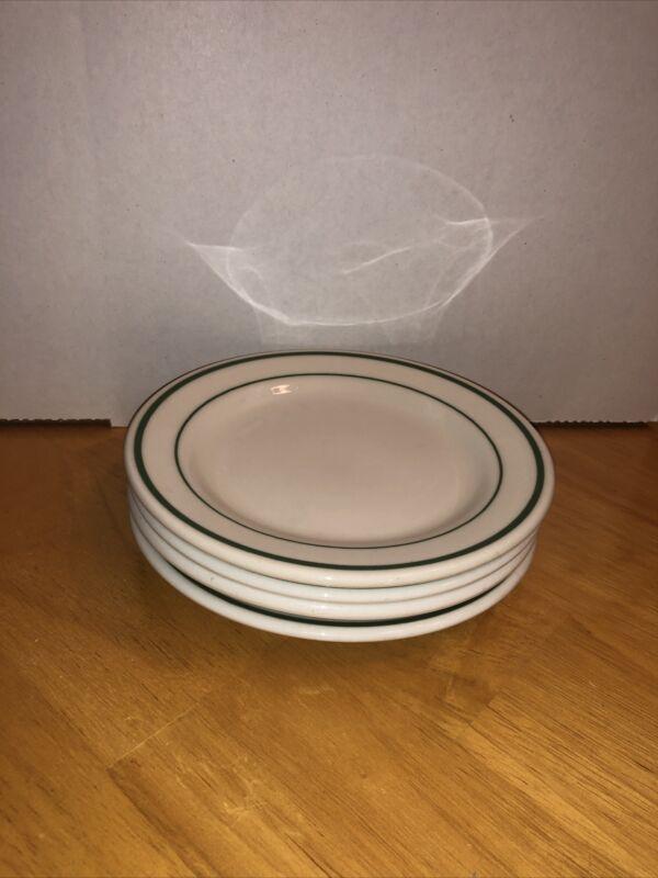 6 1/4 Buffalo China Green Stripe Side Plate