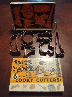 Vintage Halloween Trick Or Treat 6 Metal Cooky Cutters In Original Box