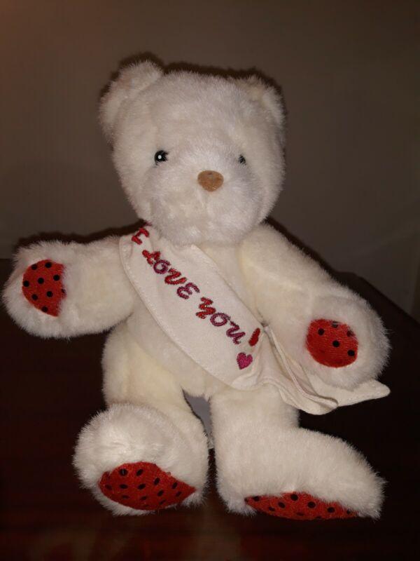 """I Love You Stuffed 9"""" White Bear"""