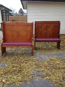 Church pew benches with cushions