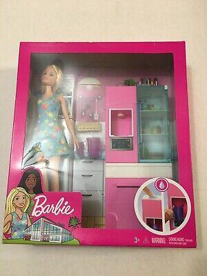Barbie Doll and Furniture KITCHEN Set w/ Working Water Dispenser & 3 Accessories