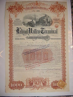 1891 Lehigh Valley Terminal Railroad Bond Stock Certificate Railway