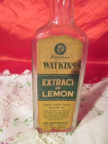 Vintage Glass Bottle Watkins Extract of Lemon